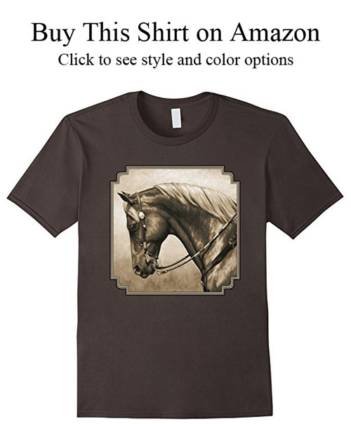 Western quarter horse aged photo effect t-shirt